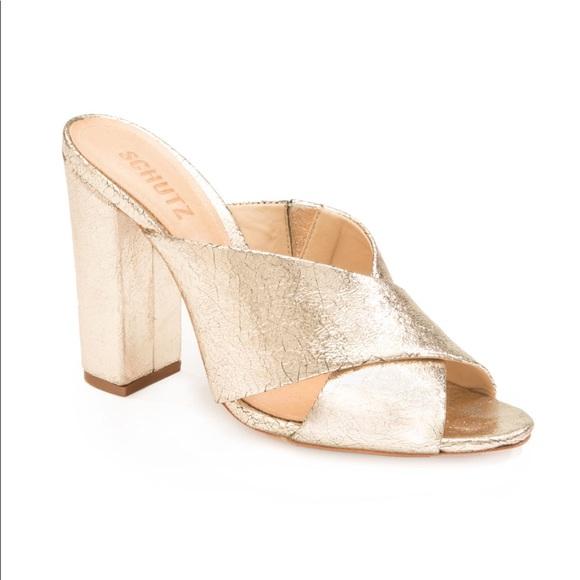 4e2a550e936 Schutz Maisie Gold Block Heel NWT
